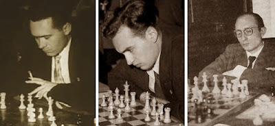 Los ajedrecistas Josep M. Ridameya, Miquel Farré y Josep Monedero