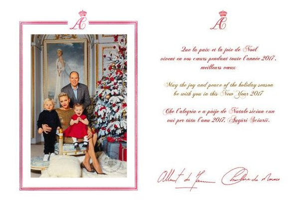 Prince Albert, Princess Charlene and their twins, Prince Jacques and Princess Gabriella, 2016 Christmas Card. Princess Charlene wore Ralph Lauren Backless Sequin Dress