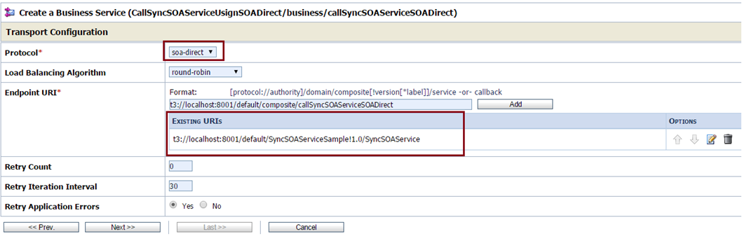 OSB to SOA Using SOA Direct Choose Protocol