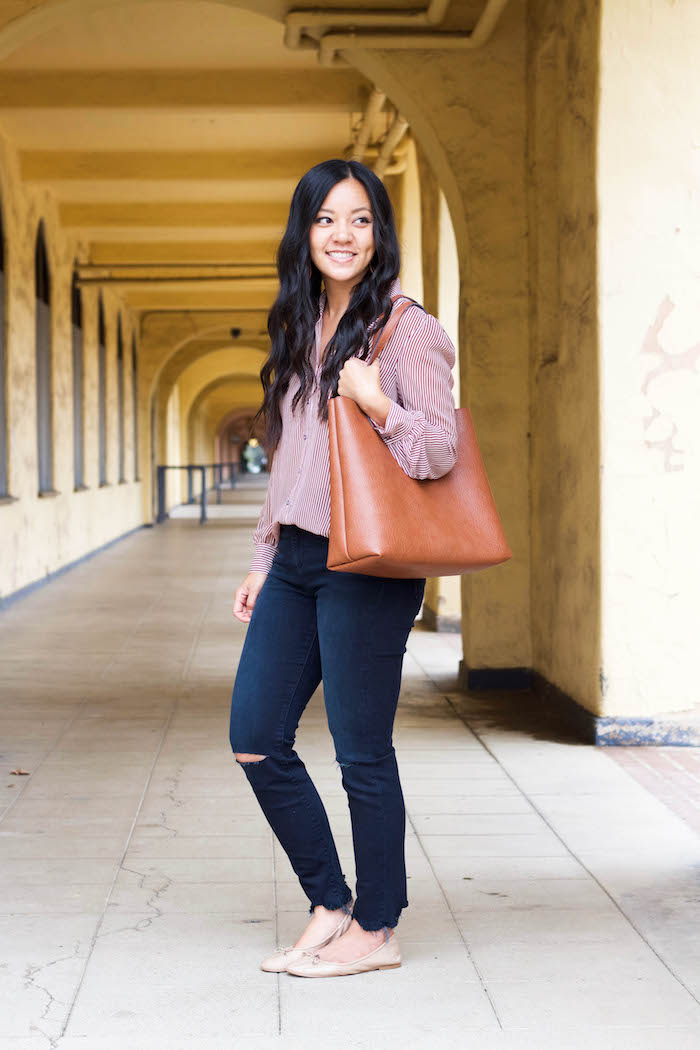 Frayed skinnies + nude flats + striped blouse + tote