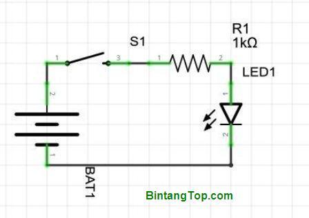 rangkaian elektronik untuk lampion