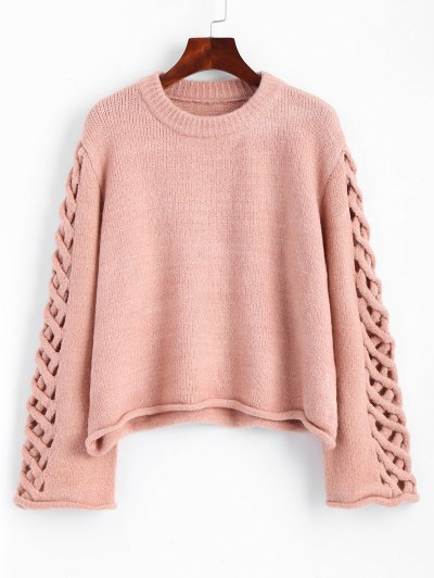 Oversized Braided Sleeve Pullover Sweater
