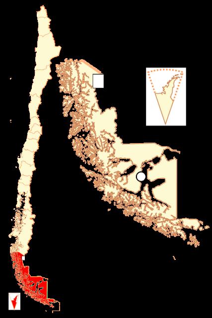 Mapa de localização da região de Magallanes e Antártica