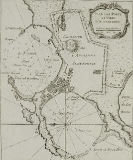 خريطة لمدينة الإسكندرية برسم بللينى عام 1764 ونلاحظ فى الخريطة أسوار مدينة الإسكندرية وجزيرة فاروس والمينائين الشرقى والغربى