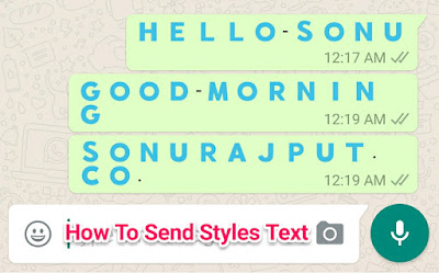 how to send Blue Text Msg in whatsapp