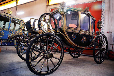 two old and luxurious carriages that were brought to Iran during Qajar period.