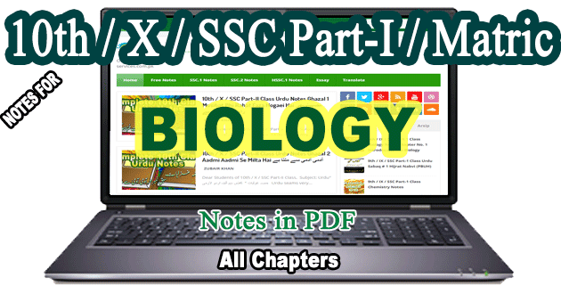 10th Class Biology Notes Free Downlaod