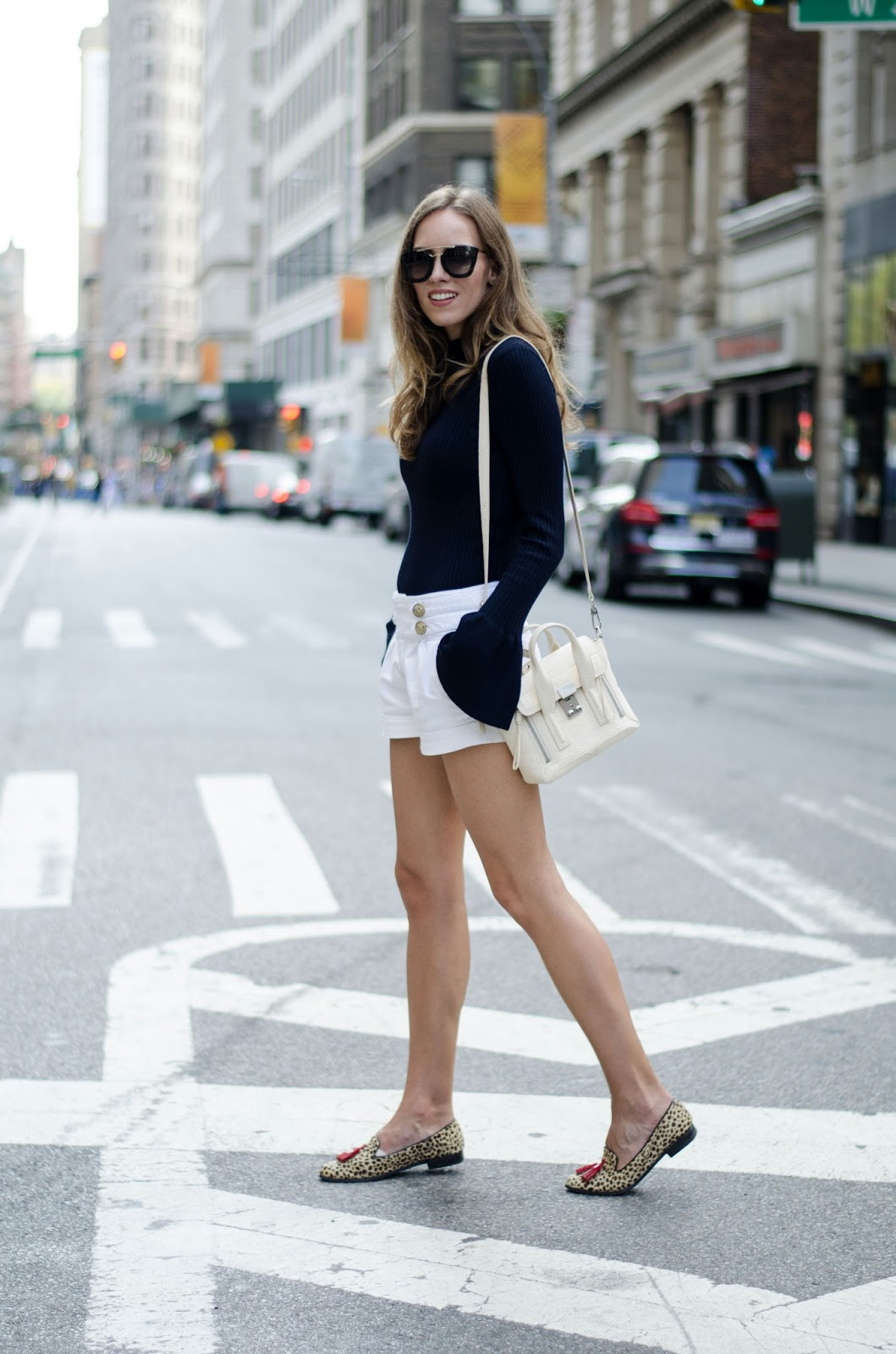 bell sleeve sweater outfit with shorts