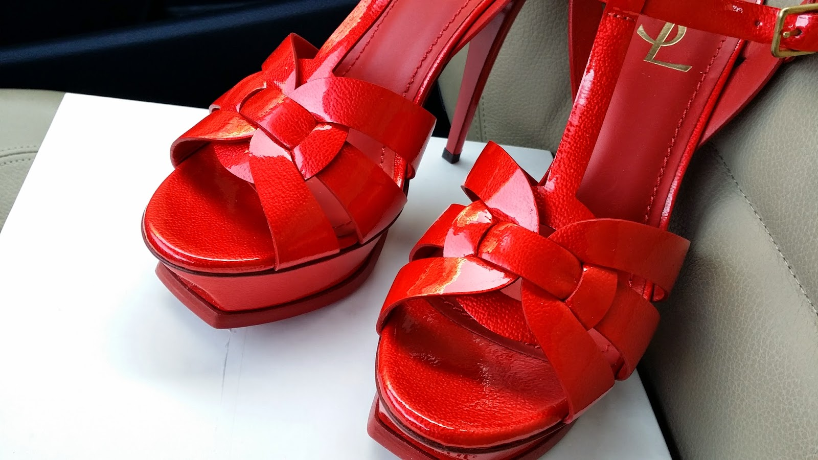 b0bdcec3777 ... fiery red patent leather sandal. The high heeled version of the classic  Tributes also contribute to the