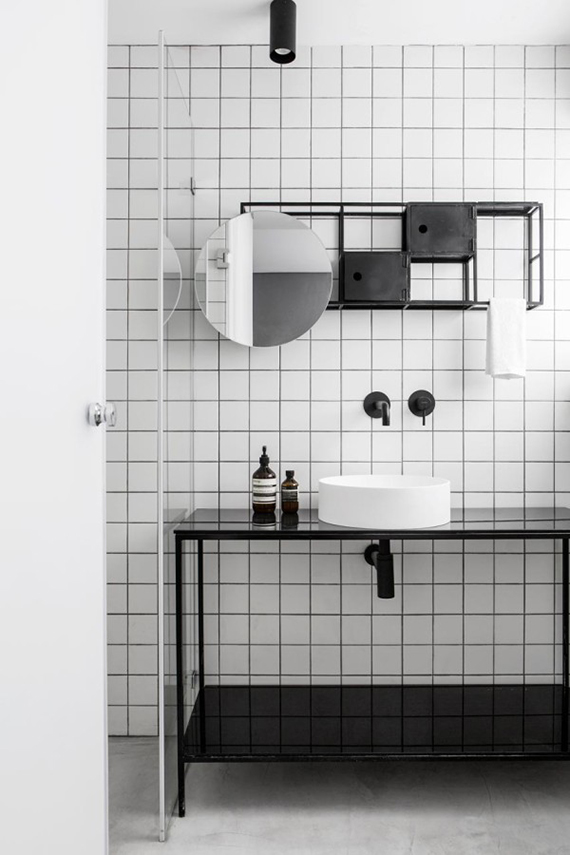 Contemporary black and white bathroom via Design Milk