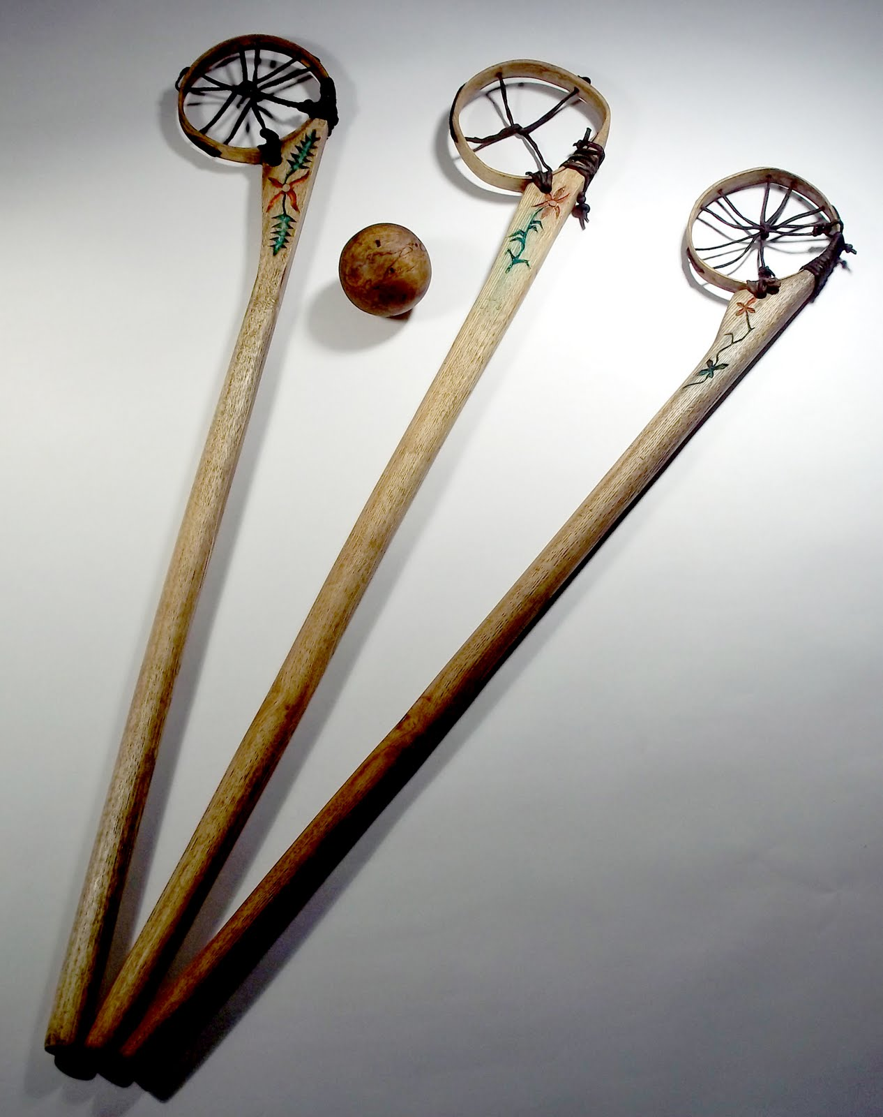 Contemporary Makers Baggataway Sticks And Wooden Ball By