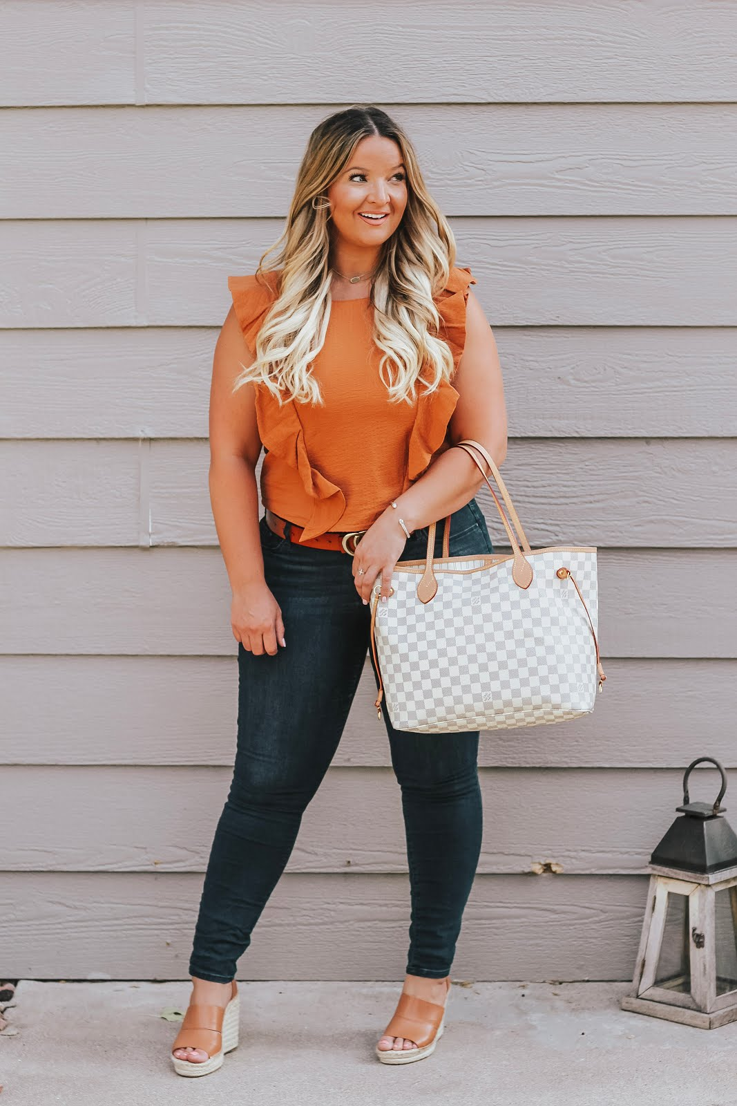 The Perfect Orange Seersucker Top featured by top Denver fashion blog, Delayna Denaye