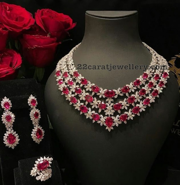 Three Rows Ruby Diamond Set