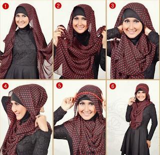 Cara Memakai Hijab Segi Empat Modern Paris Sederhana dan mudah