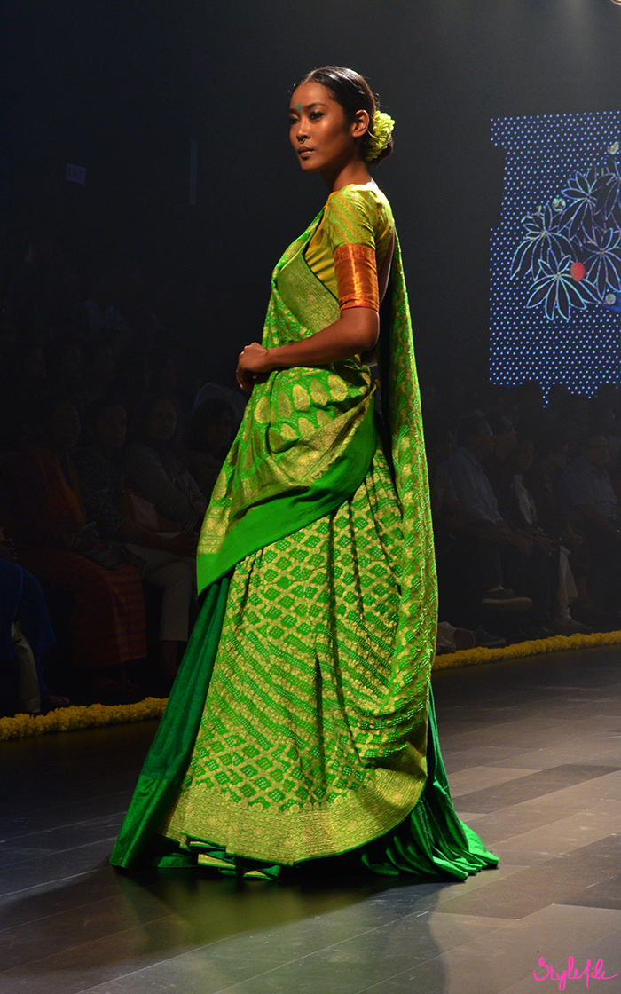 Indian model wearing a saree for designer Gaurang at Lakme Fashion Week Winter Festive 2016 at St. Regis