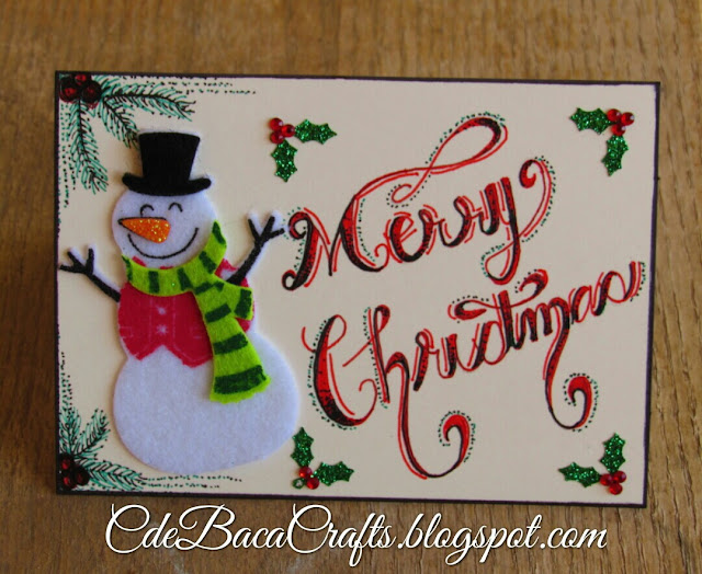 Snowman Christmas card by CdeBaca Crafts blog.