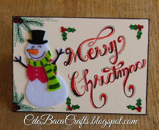 Snowman Christmas card by CdeBaca Crafts blog.