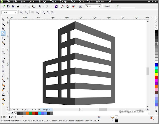 CorelDraw Tutorial Flat 2 Point Perspective Logo Building
