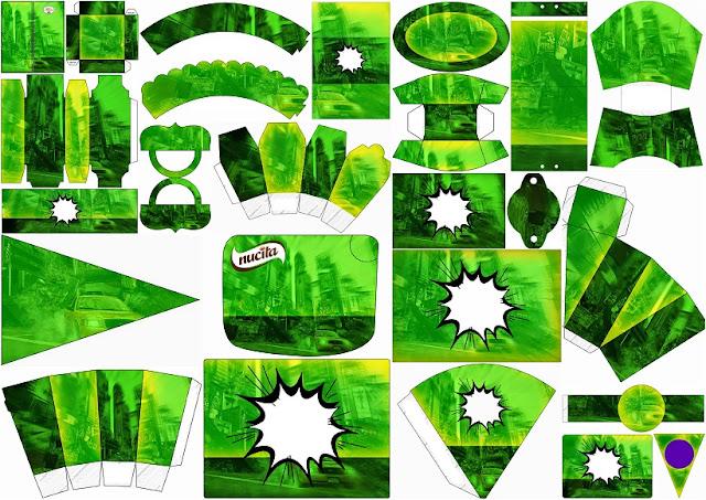 Estilo Comic en Verde: Kit para Imprimir Gratis.