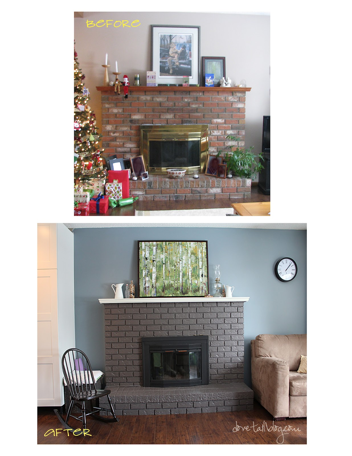 The Great 80s Reno {Painting the Red Brick Fireplace ...