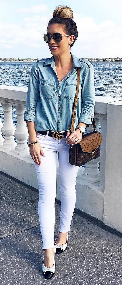casual style addiction: denim shirt + white pants