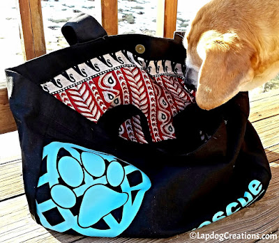 Sophie thinks everyone should own a RESCUE tote bag from #PawZaar - Global Style for Pet Lovers! #rescueddogs #adoptdontshop #animalwelfare #rescue #LapdogCreations ©Lapdog Creations