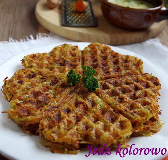 gofry warzywne z dipem pietruszkowym z tahini