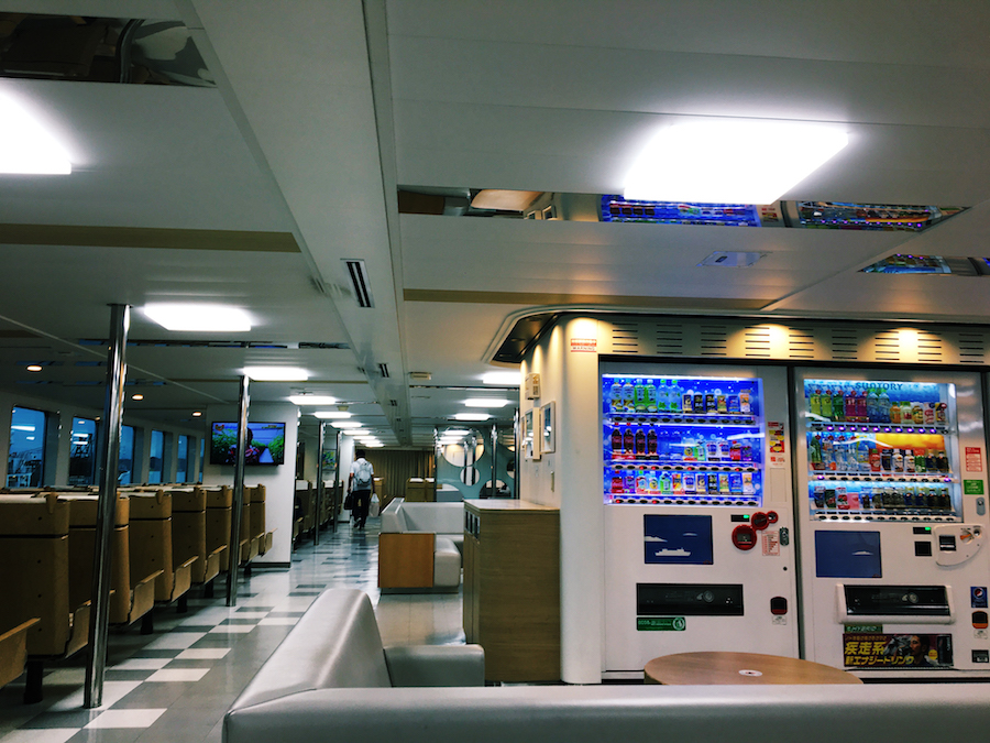 The interior of the ferry liners that service the Uno to Naoshima route