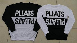 Jual Online Sweater Pleats Hitam Putih Couple Murah Jakarta Bahan Babytery Terbaru