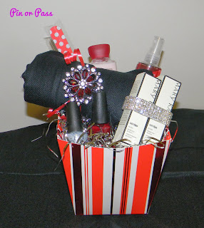 holiday glam basket for a basket raffle donation