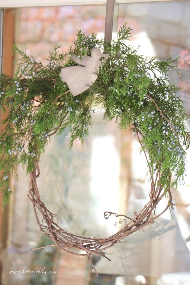 Christmas porch natural greenery grapevine wreaths with blue berry cedar