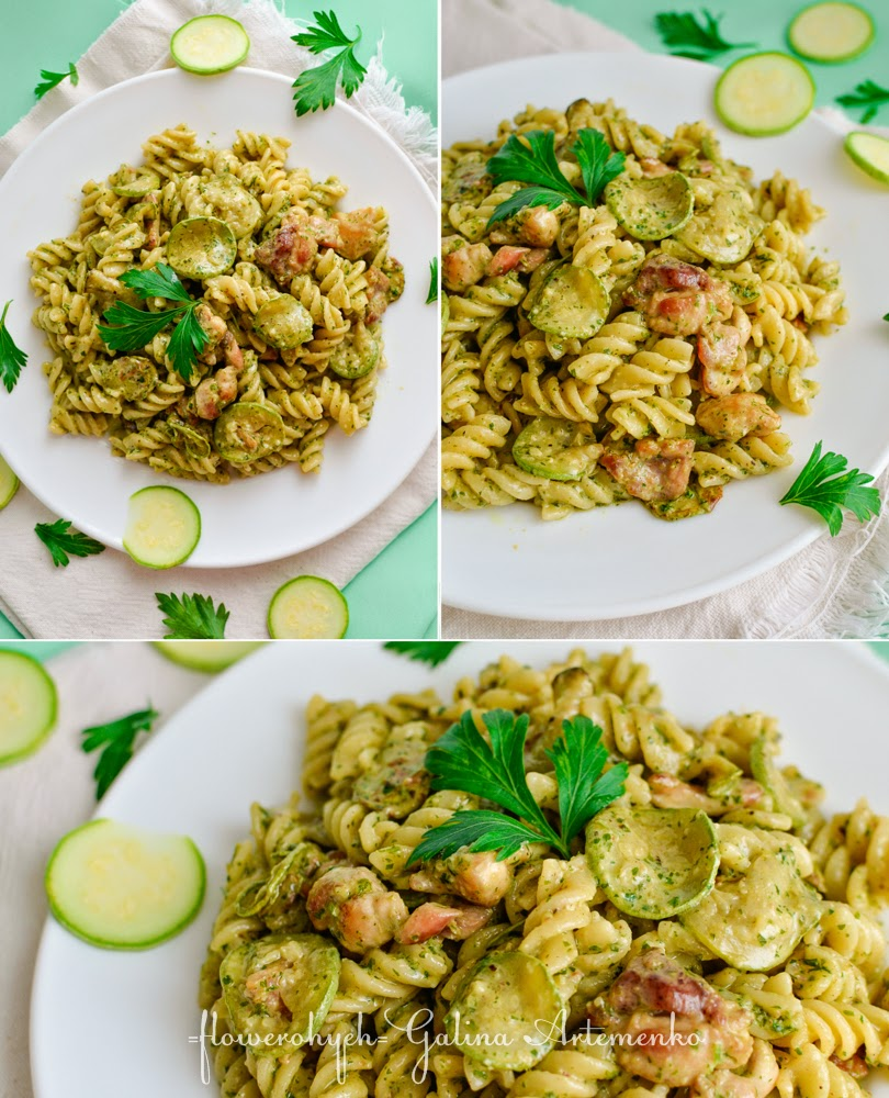 chicken and zucchini creamy pesto sauce pasta