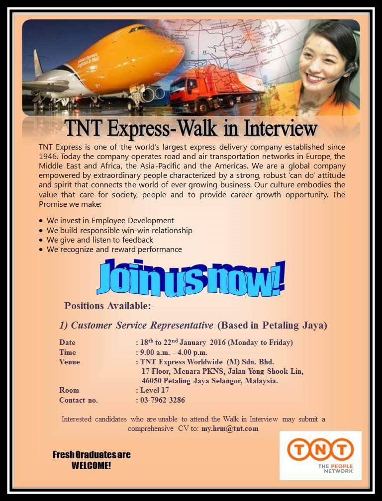 Jawatan Kosong : TNT Express Walk in Interview