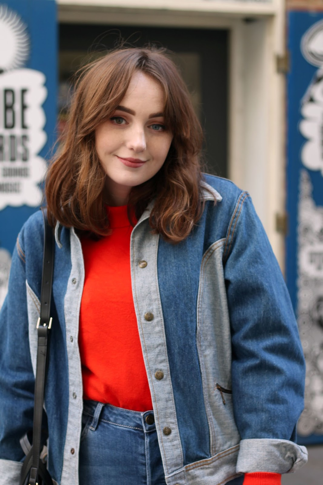 Liverpool based style blogger Allie Davies styles vintage Lee denim jacket in western design from Rokit Vintage London