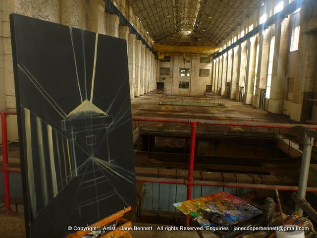 oil painting of Turbine Hall in interior of White Bay Power Station by artist Jane Bennett