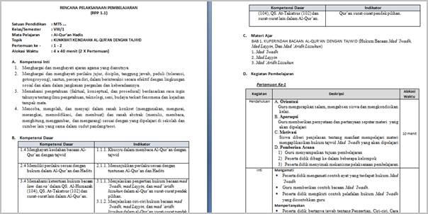 RPP Qur'an Hadits MTs Kelas VIII Kurikulum 2013