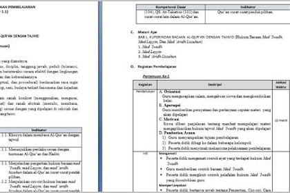 RPP Quran Hadits Kelas VIII MTs Kurikulum 2013