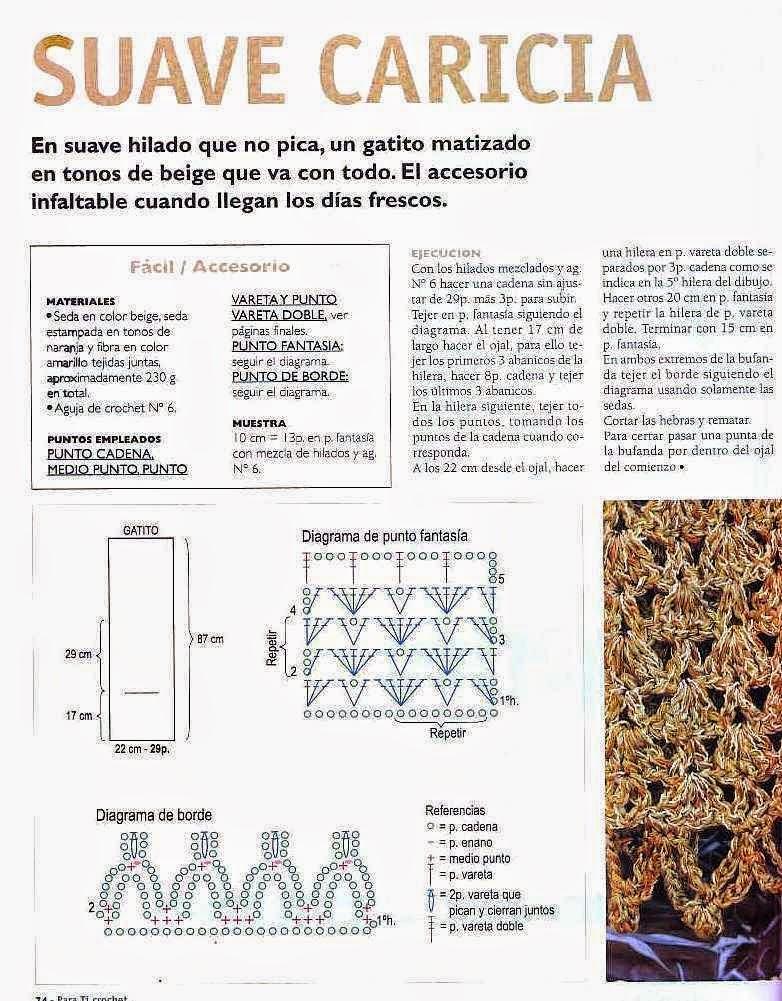 Bufanda de seda liviana tejida al crochet - con patrones en español ...