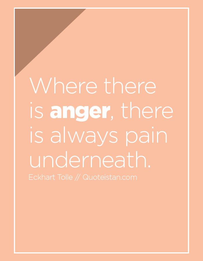 Where there is anger, there is always pain underneath.