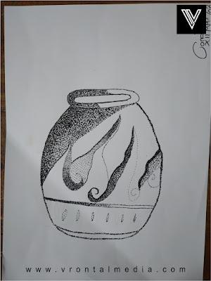 contoh gambar pointilis guci