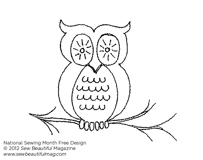 Sew Beautiful Blog: Free Daily Design: Owl Embroidery Template