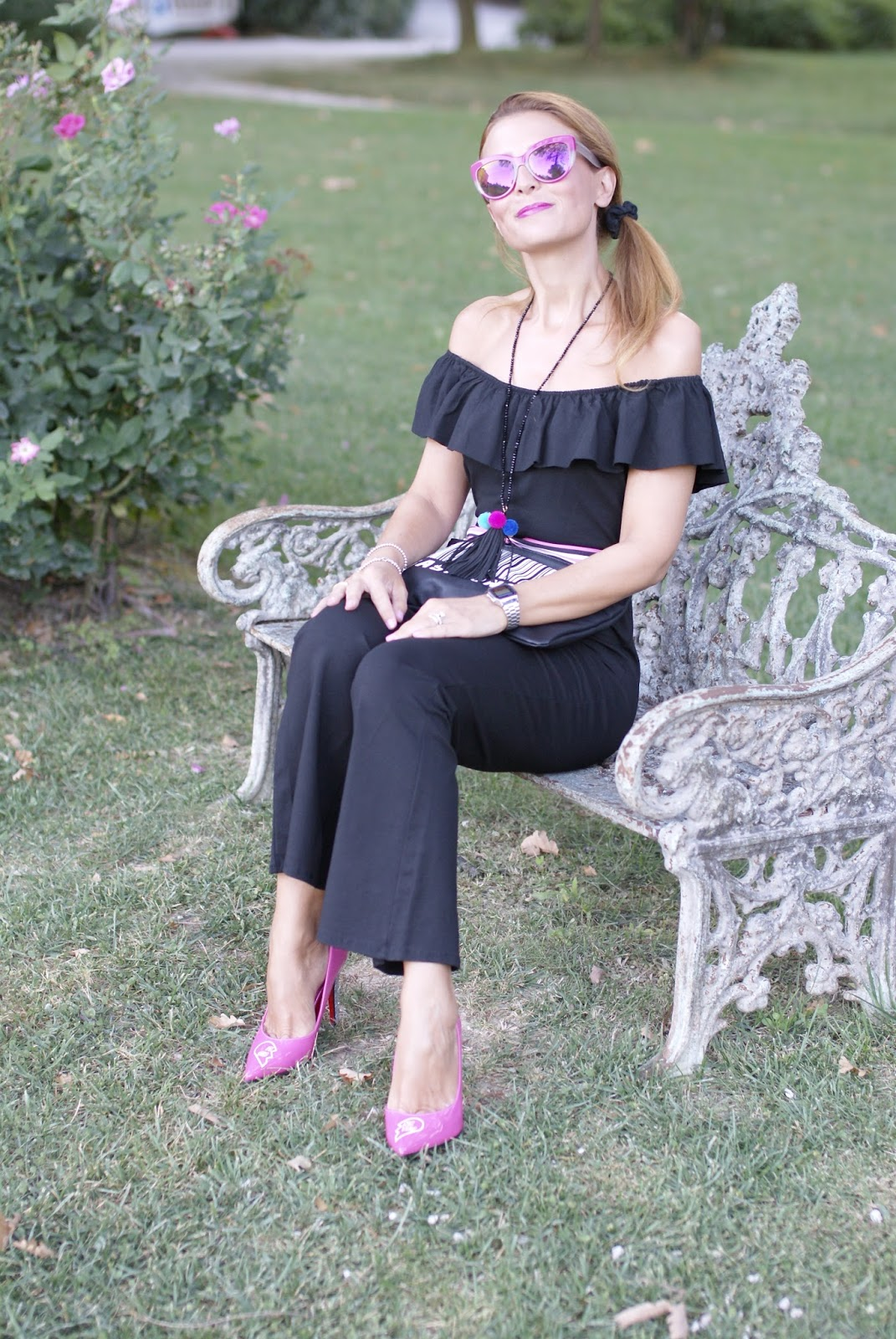 Black off the shoulder jumpsuit and Pink Sister Pumps by Angela Pavese on Fashion and Cookies fashion blog, fashion blogger style