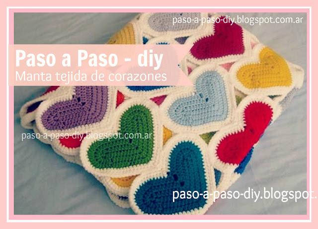 cómo hacer una manta tejida con corazones