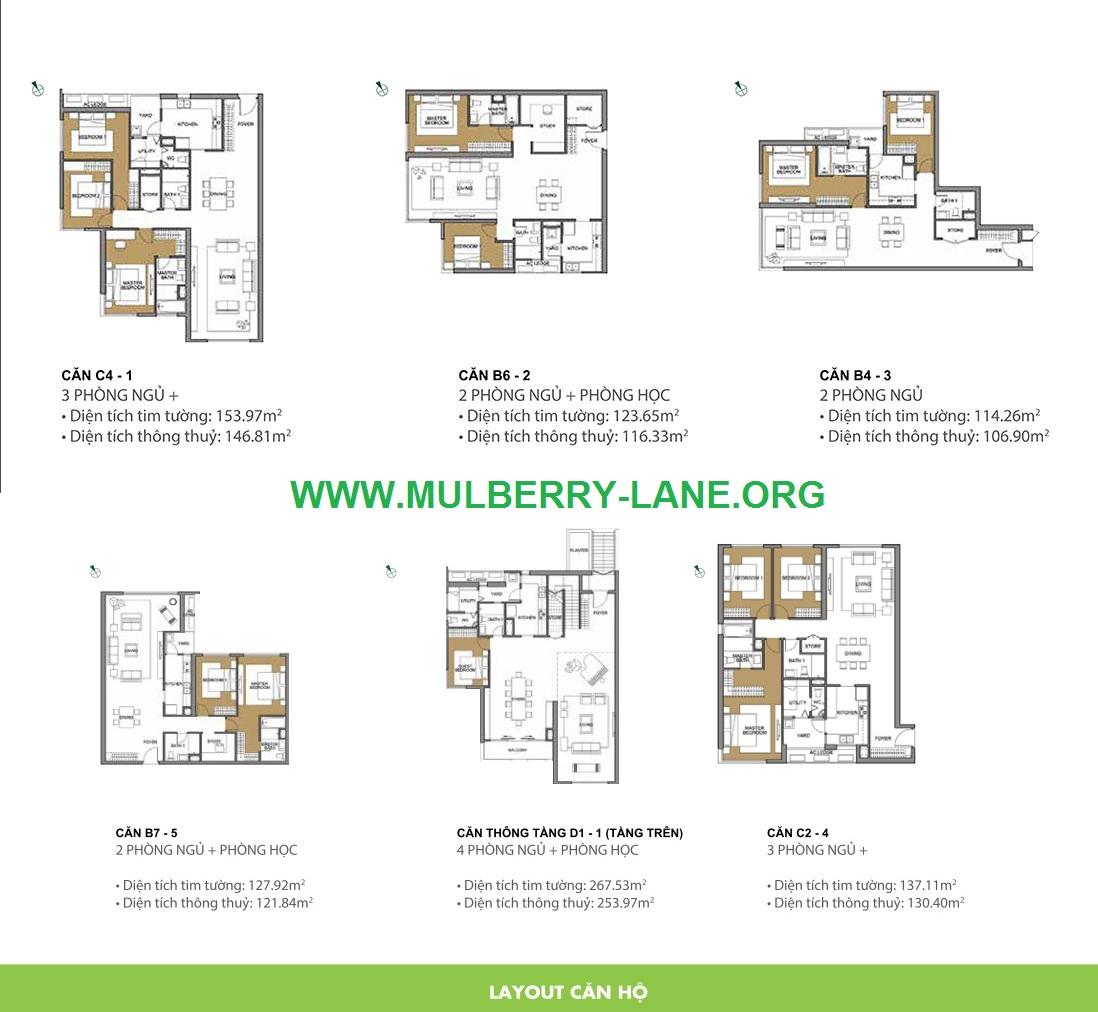 Các loại diện tích căn hộ Mulberry Lane