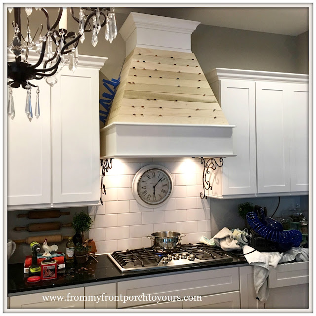 Farmhouse-Kitchen-Custom Range Hood-Shiplap-Iron Brackets-From My Front Porch To Yours