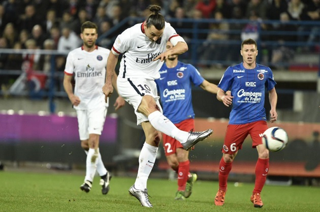 Zlatan Ibrahimovic inscrit son 15e but en Ligue 1 face à au SM Caen
