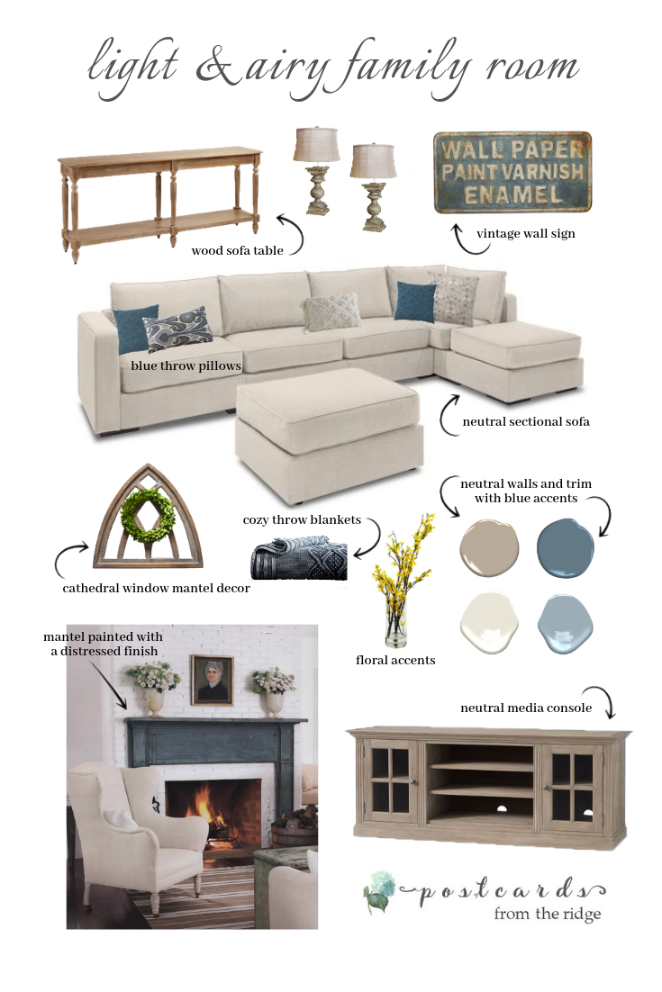 white sofa and accessories for family room makeover