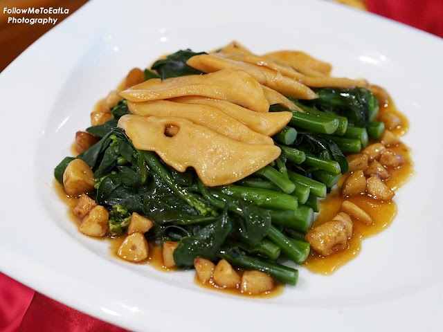 Braised Top Shell Abalone Slice with Hong Kong Kai Lan & Roast Garlic