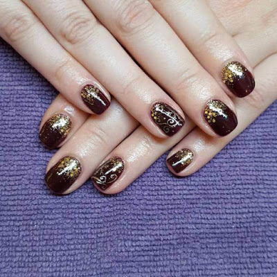 Mexican Gold ,Mylar Nails Art Ideas ,Valentine's Day