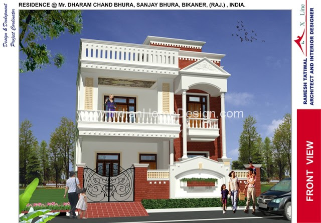Modern north indian style villa design Villa designs india